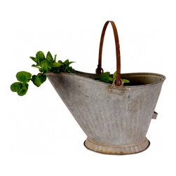 Scuttle Pail - A vintage galvanized coal/scuttle bucket is in great condition! No holes, just a few minor dents from related to age. Very sturdy with a wonderful weathered patina!
