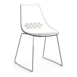 Calligaris - JAM Chair, Chrome Frame, White Seat/ Transparent Orange Back - Chrome Finished Sled Legs