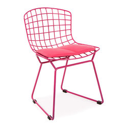 Vertigo Interiors - Kids Bertoia Style Wire Playroom Lounge Dining Side Chair , Pink - This chair is inspired by Harry Bertoia's iconic wire chairs.  With a seat height of 12.6 Inches, this chair is perfect for classrooms, playrooms, and children's dining tables.  The chair is constructed of painted chrome with a faux leather seat pad.  The seat pad is more red than pictured.