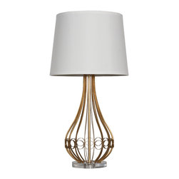 Worlds Away - Worlds Away Gold Leafed Iron Lamp WESTIN G - Gold leafed iron lamp base. Clear cord. acrylic base. Ships as shown with off white fabric shade. Ul approved for one 60 watt bulb.