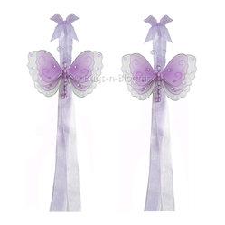 White Multi-Layered Curtain Tieback Set Butterfly 2pc Pair - Beautiful ...