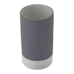 Gedy - Round Pottery Toothbrush Tumbler, Grey - Add some color to your bathroom with this tumbler by Gedy. Made from pottery, this free standing toothbrush holder is available in six separate finishes. It was made in Italy and is part of the Mizar collection. Round toothbrush holder. Free standing tumbler style holder. Available in 6 finishes. Made from pottery. Designed and manufactured by Gedy in Italy. Part of the Mizar series.