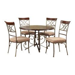"Powell Furniture - Powell Furniture Hamilton 5 Piece Dining Set - Powell furniture - Dining Sets - 697413M1 - The Hamilton dining table features an interesting curve and scroll designed bottom. The top is a sleek ""Brushed faux medium cherry"" Wood, while the bottom is a ""Matte pewter and bronze"" metal. The Hamilton dining chair features a diamond shaped back and slight curved legs. The top of the back piece is a sleek ""Brushed faux medium cherry"" Wood, while the frame is a ""Matte pewter and bronze"" metal. This dining set is sure to add interest to any home."