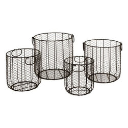 Home Decorators Collection - Round Wire Baskets - Set of 4 - Expert carryalls. Waste bins. Holder of toys. Our set of four Round Wire Baskets are multi-functional and well constructed. Finished in black, the baskets will complement any decor style while the handles ensure easy lifting. Order your set now and get organized. Wire construction. Black finish completes the look.