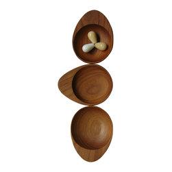 Bahari - Teak Wood Condiment with Handle - Teak Wood Condiment with Handle, 3 pcs./set.  Clean with warm cloth and dry immediately