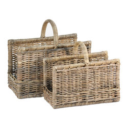 EcoFirstArt - French Magazine Basket (Set of 2) - Outfit your bathrooms with elegant, eco-chic magazine baskets, which will give your decor an easy, unfussy style. This set of two handmade racks with sturdy handles was crafted from natural rattan, and includes a large and small basket.