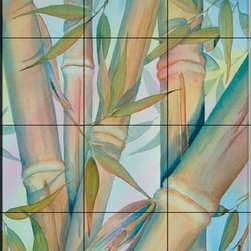 The Tile Mural Store (USA) - Tile Mural - Bamboo Ii - Kitchen Backsplash Ideas - This beautiful artwork by Linda Lord has been digitally reproduced for tiles and depicts a nice tropical plant scene.  With our enormous selection of tile murals of plants and flowers you can bring your kitchen backsplash tile project to life. A decorative tile mural with plants and flowers is an impressive kitchen backsplash idea and decorative flower tiles also work great in the bathroom. Add splashes of color and life to your tile project with images of flowers on tiles and tiles with pictures of plants.