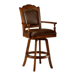 """Hillsdale Furniture - Nassau Swivel Leather Game Bar Stool - Spaciously sized with scalloped crest and circular foot ring. Or, at least, they would say that if they had been sitting in this chair. Friends and family can enjoy the challenges of game play from the comforts of these wooden chairs. Watch the game in comfort from your own swivel chair and enjoy the luxury of its sturdy solid wood construction and exquisite upholstery while you survey the game. Traditionally styled with turned details and a wood footrest, this exceptionally comfortable gaming stool provides gamers with a sumptuous brown leather seat. * For residential use. Solid upholstered leather back. Upholstered leather seat w/ memory swivel. Splayed legs w foot ring. Solid wood construction. Brown leather seat. 50""""H x 25.5""""W x 23.5""""D (Seat Height: 30""""H)"""