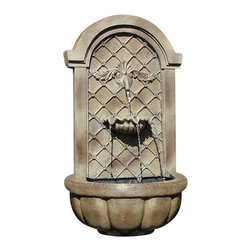 The Manchester Wall Fountain, Florentine Stone - The Manchester Wall Fountain is a centerpiece of serenity and beauty of nature for your garden or outdoor space. This fountain brings tranquility and serenity through its flowing sounds and a feeling of being one with nature.