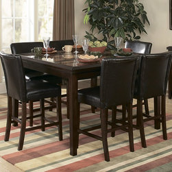 Homelegance - Homelegance Belvedere 7 Piece Counter Height Dining Room Set - The beveled wood edge of these burnished espresso finished tables softens the transitional Belvedere Collection. Inset display shelving and decorative faux marble inlay further compliment the design.