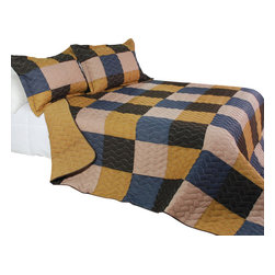 Blancho Bedding - [Antique Chic] Cotton 3PC Vermicelli-Quilted Patchwork Quilt Set (Full/Queen) - The [Antique Chic] Quilt Set (Full/Queen Size) includes a quilt and two quilted shams. This pretty quilt set is handmade and some quilting may be slightly curved. The pretty handmade quilt set make a stunning and warm gift for you and a loved one! For convenience, all bedding components are machine washable on cold in the gentle cycle and can be dried on low heat and will last for years. Intricate vermicelli quilting provides a rich surface texture. This vermicelli-quilted quilt set will refresh your bedroom decor instantly, create a cozy and inviting atmosphere and is sure to transform the look of your bedroom or guest room. (Dimensions: Full/Queen quilt: 90.5 inches x 90.5 inches Standard sham: 24 inches x 33.8 inches)