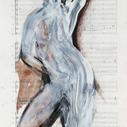 Lost Art Salon - Original Abstracted Nude, 2010 Delamater - This 2010 charcoal, ink and pastel nude on vintage sheet music is by San Francisco artist and Lost Art Salon co-owner Rob Delamater (b.1966).  This work was drawn directly with the model. Delamater creates abstract compositions that evoke organic shapes and motifs from the natural world as well as the human figure and other representations from his city life. Unframed. Signed and dated on the front. Shipping with standard size archival mat.