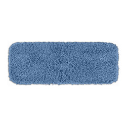 None - Quincy Super Shaggy Cool Blue Washable Bath Runner - Jazz up the bathroom,shower room,or spa with a bright note of color while adding comfort you can sink your toes into with the Quincy Super Shaggy bathroom collection. The blue rug is created from soft,durable,machine-washable nylon.