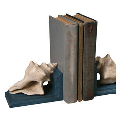Seashell Cast Iron Bookends - Stunning execution gives the Seashell Cast Iron Bookends their high-end, museum-worthy visual quality. Functioning as a stately display for a (to all appearances) natural specimen shell, the bookend is in fact heavily, durably cast from iron, then hand-painted in the serene, formal ocean blue and warm, natural white that give the display such dynamic and priceless potential.