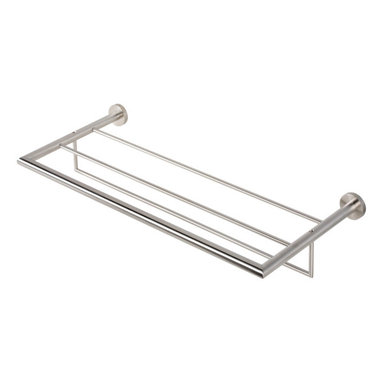 Geesa - Stainless Steel Towel Rack or Towel Shelf with Towel Bar - Contemporary style wall bath towel shelf with towel bar.