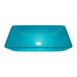 PolarisSinks - Polaris p046 turquoise Square Glass Vessel Sink - Our glass sinks come in a large variety of colors and styles to fit any decor. Our line of glass sinks will add elegant beauty to your bathroom. the glass sinks are manufactured using fully tempered glass. tempered glass is stronger and can withstand higher temperatures than normal glass. the quality of the glass makes maintenance very easy. the glass is non porous and will not absorb odor or stains making it a very sanitary option in bathroom sinks. Our glass sinks are covered by a limited lifetime warranty. Each sink comes with a cardboard cutout template and mounting hardware.