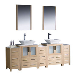 """Fresca - 84 Inch Double Bathroom Vanity with Side Cabinets, Light Oak, White Ceramic - Fresca is pleased to usher in a new age of customization with the introduction of its Torino line.  The frosted glass panels of the doors balance out the sleek and modern lines of Torino, making it fit perfectly in either Town or Country decor.  Available in the rich finishes of Espresso, Glossy White and Light Oak, all of the vanities in the Torino line come with either a ceramic vessel bowl or the option of a sleek modern ceramic undermount sink. Dimensions: 84""""W X 18.13""""D X 35.63""""H (Tolerance: +/- 1/2""""); Counter Top: White Ceramic ; Finish: Light Oak; Features: 4 Doors, 13 Drawers; Hardware: Chrome; Sink(s): 16"""" X 16"""" X 5"""" White Ceramic Vessel Sink; Faucet: Pre-Drilled for Standard Single Hole Faucet (Included); Assembly: Light Assembly Required - Item Ships in 5 Pieces; Large cut out in back for plumbing; Included: Cabinet, Sink, Choice of Faucet with Drain and Installation Hardware, Mirror (20.75""""W X 1.25""""D X 31.5""""H); Not Included: Backsplash"""