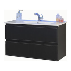 "Macral Cuero 32"" black vanity. Black caw leather. - Made in Spain."