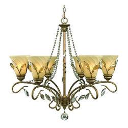 Golden Lighting - Golden Lighting 5400-6 Beau Jardin 6 Light Crystal Chandelier - Golden Lighting 6 Light Chandelier from the Beau Jardin CollectionFeatures:
