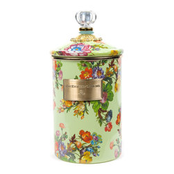 Flower Market Large Enamel Canister - Green | MacKenzie-Childs - Flour, sugar, and coffee might seem the most obvious of contents with which to fill a set of three Flower Market Canisters, but the possibilities are endless! Keep them in the kitchen with coffee beans and tea bags, cookies and candies, dog biscuits or birdseed, or invent new uses around the house. Perfect for cotton balls and swabs in the bathroom, pens and pencils in the office, or knick-knacks and doodads in the kids room. Color glazed in black, blue, green or white, each Flower Market Enamel Canister is decorated with hand-applied fanciful botanical transfers that recall a lush English garden in the peak of summer. These canisters stand handsomely alone or harmonize delightfully in a multicolor set.