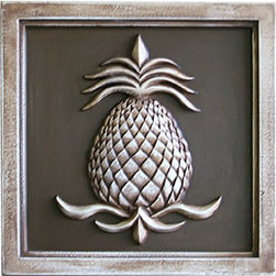 "Pineapple Plaques - Pineapple Plaque by Marie Ricci. 12"" plaque shown in vintage brown. Suitable for outdoor use. Cast in concrete from my hand carved original. www.mariericci.com $85"