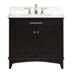 """Water Creation Inc. - Manhattan Collection 36"""" Wide Single Sink Vanity - The Water Creation Manhattan Collection 36"""" single sink bathroom vanity is perfect for the bathroom project that demands a striking focal point. This Espresso finished vanity features 2 doors, 2 drawers and a Carrara White Marble counter top with backsplash. The counter top is pre-drilled for 8"""" wide spread lavatory faucets."""
