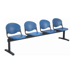 KFI Seating - Freestanding Armless Beam Chair w 4 Seats & B - Color: Cool Grey4-Seat beam. Made of 15 gauge steel standex frame, powder-coated in black. High impact polypropylene seat and back. Injection aluminum alloy back supports. Free standing with adjustable glides. Great for waiting rooms and common areas. Pictured in Navy Blue. 95 in. W x 22 in. D x 31 in. H