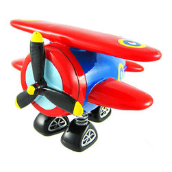 Zeckos - Red and Blue Bi-Plane Bobble Piggy Bank Biplane - This adorable cold cast resin bobble bi-plane figurine doubles as a piggy bank. The bank measures 4 1/2 inches tall, 6 inches wide and 6 1/2 inches long. The wheels are attached by springs which allow the bank to bob up and down. The propeller does not turn. The bank empties via a plug on the bottom. It is hand-painted, and makes a great gift for airplane lovers or anyone wanting to encourage a savings habit.