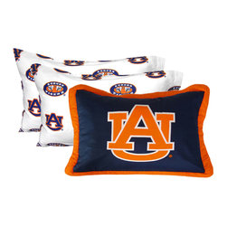 College Covers - NCAA Auburn Tigers Pillowcase Set White Bed Accessories - FEATURES: