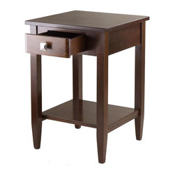 Winsome Wood - 18 in. End Table in Antique Walnut Finish - One larger drawer. Bottom shelf. Tapered legs. Made form solid and composite wood. Assembly required. Drawer: 7.55 in. W x 11.29 in. D x 2.59 in. H. Shelf: 16.38 in. W x 13.38 in. D. Clearance from apron to shelf: 13.58 in.. Overall: 17.95 in. W x 18.68 in. D x 25.98 in. HRichmond end table has clean profile, perfect for living, family or as a night table.