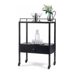 Grant Bar Cart - This cart is one of my favorites. It's made of raw steel and has a little drawer for bar gadgets.