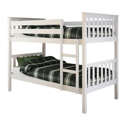 Sonax - Sonax CorLiving Monterey Solid Wood Twin Bunk Bed in White - Sonax - Bunk Beds - BMB415B - Stay organized by capitalizing on the space with this bunk bed from CorLiving. The fresh white painted bed will enhance your child's bedroom decor with the simple multi-rail styling. The Monterey Collection is not only good looking but is upgraded featuring 12 slats of support on each bed - No box spring is needed so you can place your mattress directly on the sturdy wood slats. Rest comfortably knowing you've invested in a solidly constructed bed from CorLiving.