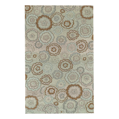 Water Garden rug in Mint - Jacquard woven tapestry rugs. Durable and suitable for any high-traffic area.