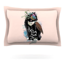 """Kess InHouse - Mat Miller """"Black Magic"""" Abstract Cat Pillow Sham (Cotton, 30"""" x 20"""") - Pairing your already chic duvet cover with playful pillow shams is the perfect way to tie your bedroom together. There are endless possibilities to feed your artistic palette with these imaginative pillow shams. It will looks so elegant you won't want ruin the masterpiece you have created when you go to bed. Not only are these pillow shams nice to look at they are also made from a high quality cotton blend. They are so soft that they will elevate your sleep up to level that is beyond Cloud 9. We always print our goods with the highest quality printing process in order to maintain the integrity of the art that you are adeptly displaying. This means that you won't have to worry about your art fading or your sham loosing it's freshness."""