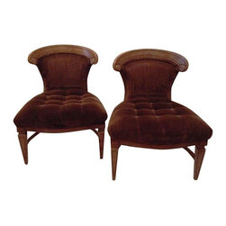 Used Low Rider Brown Velvet Chairs - A Pair - This funky pair of brown velvet chairs know how to get low! Tufted seat with original upholstery. The wood construction has a lovely faux burl finish too.    Seat height: 15""
