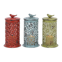 "Benzara - Decor in Red, Blue and Green with Long Lasting Construction - Add these three unique metal candle holders to your home decor and infuse a cheerful appeal to your ambience. Available in three assorted colors of shiny red, dazzling green and calming aqua blue, these metal candle holders come with an artistic elongated box design with patterns on it. Resting on a broad metal base, it ends with a metal bird design on top symbolizing cheerfulness and free spirit. Place in your favorite designer perfume candle and hang it up on your dining room corners for a dim and cozy candle light dinner with your partner. Ideal for any color wall backdrop, you can also put it up in your garden area for a quiet evening with your friends and family.; Available ion three exciting colors; Robust construction with artistic design; Made of high quality metal; Weight: 1.21 lbs; Dimensions:7""W x 7""D x 12""H"
