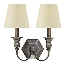 "Hudson Valley - Traditional Charlotte 14"" High 2-Light Old Bronze Wall Sconce - The warm tone of old bronze a beveled hexagon backplate and graceful curved arms supporting creamy white shades exemplify elegant simplicity in this classic 2-light wall sconce. Illuminate your favorite room with this beautiful design from Hudson Valley Lighting. Old bronze finish. Cream eco-paper shades. Takes two 60 watt candelabra bulbs (not included). 14"" high. 12 1/2"" wide. Extends 7 3/4"" from the wall.  Old bronze finish.   Cream eco-paper shades.   Takes two 60 watt candelabra bulbs (not included).   14"" high.   12 1/2"" wide.   Extends 7 3/4"" from the wall."