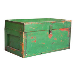 Vintage Green Painted Trunk - Your friends will be green with envy!  This cool piece would look great mixed in with traditional decor or add that pop of color to your updated space.  It shows colors below the shade of green from pervious owners and offers great storage space for games, blankets, pillows or more.  Just the kind of thing you would have to hunt hours for at flea markets... right here at Chairish for the taking!
