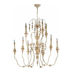 Distressed White Vintage French  9 Light Chandelier - *Maison Nine Light Chandelier