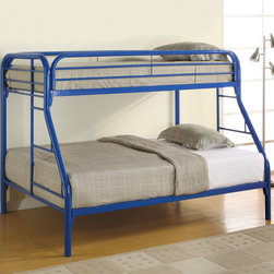 Coaster - 2258B Twin/Full Bunk Bed - Blue - With safety in mind, this twin over full bunk bed will also create a fun and inviting bedroom atmosphere for your little one. Full length guard rails offer security, while the built in ladders on each side provide convenience. High gloss finishes in white, blue, black, and red allow you to choose the perfect look for your child's individual style.