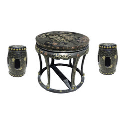 Golden Lotus - Round Black Lacquer golden Dragon Table 4 Stools Set - This is a Chinese Fujain style round table  4 stools set. The surface is painted with black lacquer as the base tone. The surface is hand painted golden dragon and flower pattern. The table has been parted into half table which can match with two stools on the side against the wall.