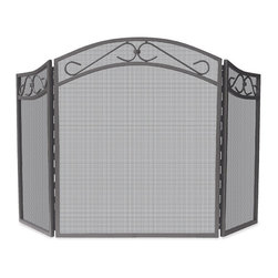 Uniflame - Uniflame S-1638 3 Fold Bronze Wrought Iron Arch Top Screen w/ Scrolls - 3 Fold Bronze Wrought Iron Arch Top Screen w/ Scrolls belongs to Fireplace Accessories Collection by Uniflame