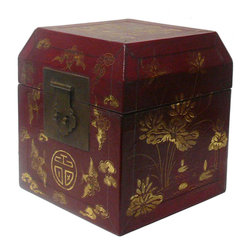 Golden Lotus - Chinese Hand Painted Golden Dragon Red Lacquer Box - This is a hand made oriental lacquer box with modern rustic matte gold color oriental dragon bats scenery graphic.