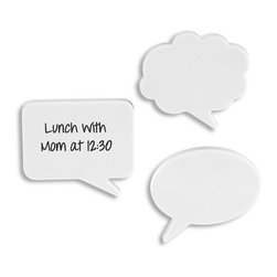 Chitchat Dry Erase Magnets - Passing notes isn't just for kids. Get playful in your office space with these cartoon speech bubble magnets. A simple whiteboard marker is all it takes to stay organized and have fun, too.