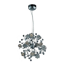 """PWG Lighting / Lighting By Pecaso - Geraldene 12-Light 20"""" Crystal Chandelier 1763D20C-EC - The Geraldene Collection adds a touch of whimsy to interiors. Clusters of crystal flowers sparkle on delicately designed chrome finished frames."""