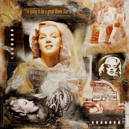 "ORIGINAL PAINTINGS :::: HOLLYWOOD REGENCY - MARILYN I (TITLE) 30 X 30 ECO-FRIENDLY (90% ORGANIC AND RECYLED MEDIUMS WITH EXCEPTION OF 10% RANDOM RESIN COATING) ARCHIVAL THICK MIXED-MEDIA ALTERED COLLAGE PAINTING WITH RESIN COATING - FIRED WITH TORCH GUN TO SEAL. FROM MY ""VINTAGE HOLLYWOOD"" SERIES, CONTEMPORARY MODERN SEMI-ABSTRACT PAINTING PAYS HOMAGE TO MARILYN MONROE, VINTAGE OLD HOLLYWOOD, FAMOUS BEVERLY HILLS SIGN, DRIVE-IN, AND RARE SCREEN TEST FROM ""RIVER OF NO RETURN"". TEXTURED WITH HIGHEST GRADE ARTISTIC HEIRLOOM QUALITY MEDIUMS & CRUSHED STONE FROM ITALY. PROFESSIONALLY PACKED WITH INSURANCE WITH CERTIFICATE OF AUTHENTICITY, READY TO HANG."