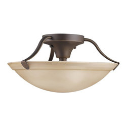 KICHLER - KICHLER 3627OZ Transitional Semi Flush Mount Ceiling Light - Gently curved Olde Bronze arms embrace a Umber Etched glass shade in this Semi-flush ceiling light. U. S. Patent Pending.