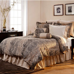"""Pointehaven - Luxury 12 Piece Bedding Set in Urban Safari - Features: -Available in Full, Queen, King and California King sizes. -Set includes 1 comforter, 2 shams, 1 bed skirt, 2 euro shams, 1 round pillow, 1 decorative pillow, 1 flat sheet, 1 fitted sheet and 2 standard pillowcase. -Urban Safari / Multi Animal Safari Print pattern. -300 Thread Count. -Material: 100% cotton. -Luxury sizes for comfort and suitable for pillow top mattress. -Ensemble oversized pillows made of 100% cotton filled with 100% Polyester fibers. -Fitted sheet has elastic all around. -Sateen printed fabric. -Dimensions: 12""""-19"""" Height x 22"""" Width."""