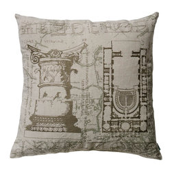 """KOKO - Dome Pillow, Rome, Corinthian Capital, Plan Theatre in St. Petersburg, 20"""" x 20"""" - Greek and Roman architecture were never so comfortable as on this embroidered linen pillow. You can pretend you're getting a little history lesson every time you curl up on the couch."""