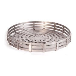 Vintage Chic Home - Circle Tray - Do you prefer a more global look? Circle Tray can be a perfect addition that can resemble your decor having art and craft movement design influences. Crafted with aluminium, this tray has a double ring quilt pattern adorned with polished finish. It features a classic design inspired by hip vintage pattern and style.